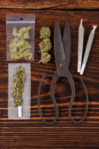 Cannabis on table with scissors and joints: Smokedistrict Medical Marijuana & Cannabis Blog