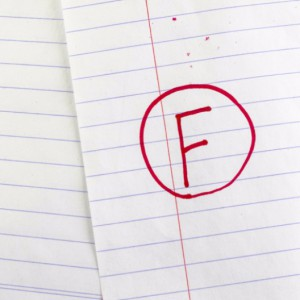 Red F grade on lined paper: Smokedistrict Tobacco Cigarettes Blog